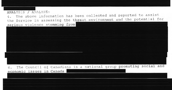 Redacted text from report